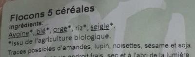 Flocons 5 céréales - Ingredients - fr