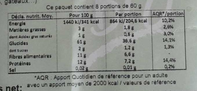 Flocons 5 céréales - Nutrition facts - fr