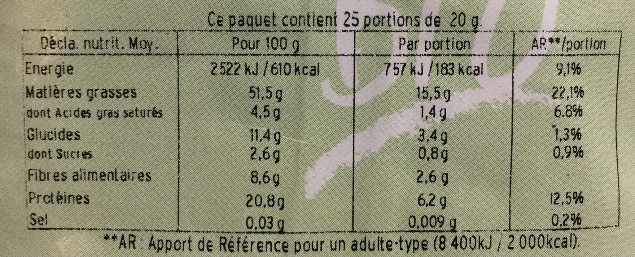 Graines de tournesol décortiquées bio - Informations nutritionnelles - fr