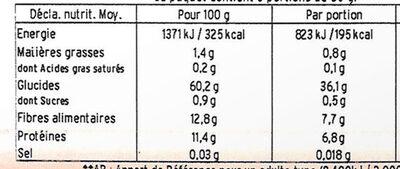 Epeautre Précuit - Valori nutrizionali - fr
