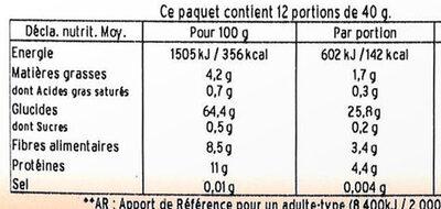 Millet Décortiqué - Valori nutrizionali - fr