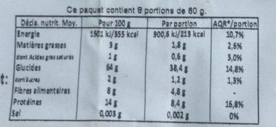 Flocons d'épeautre - Nutrition facts - fr