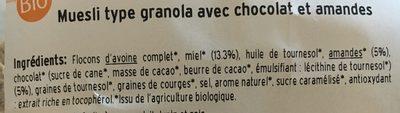 Granola Miel, Chocolat et Amandes - Ingredients - fr