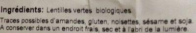 Lentilles vertes Bio - 1 kg - Markal - Ingrediënten - fr