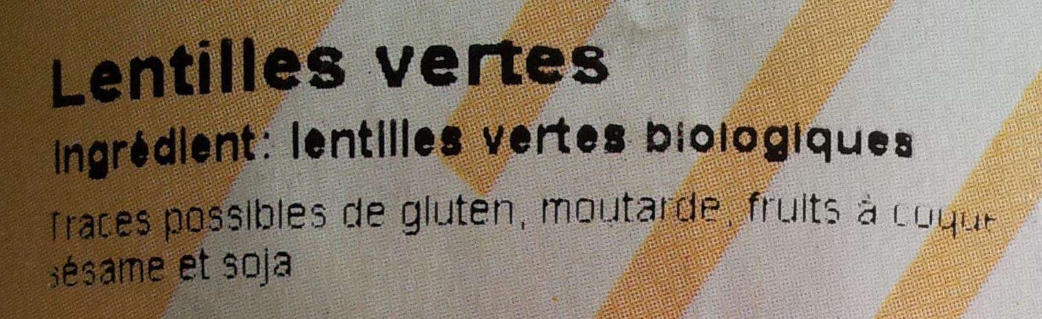 Lentilles vertes Bio - 500 g - Markal - Ingrédients - fr