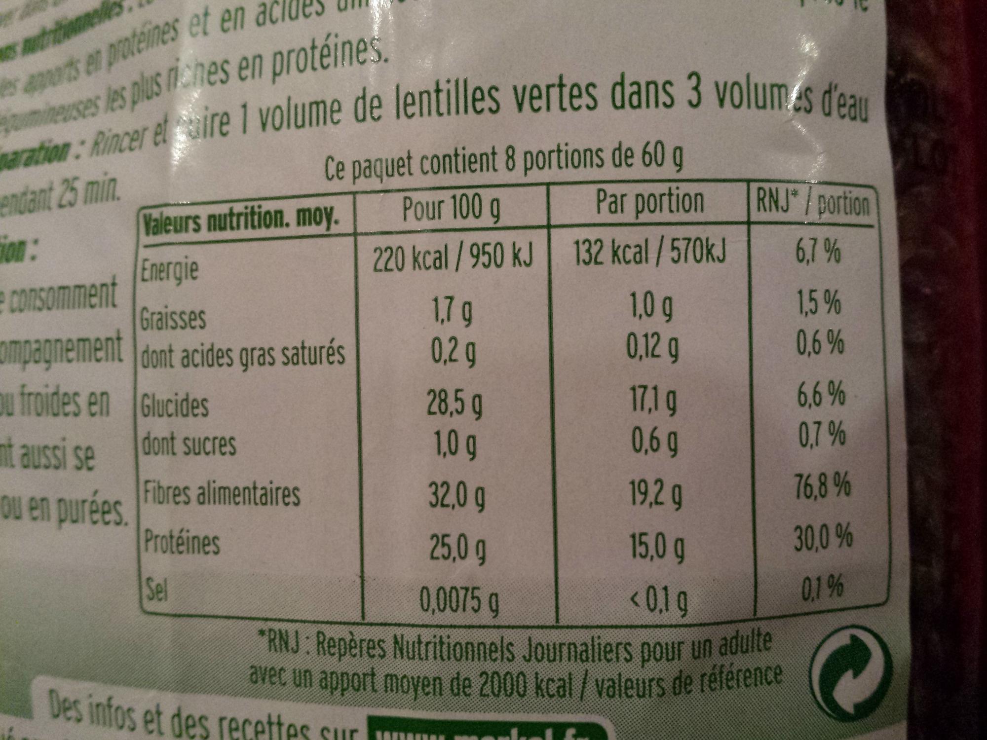 Lentilles vertes Bio - 500 g - Markal - Informations nutritionnelles - fr