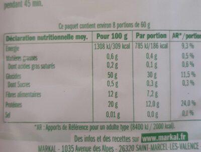 Haricots Azukis - Valori nutrizionali - fr