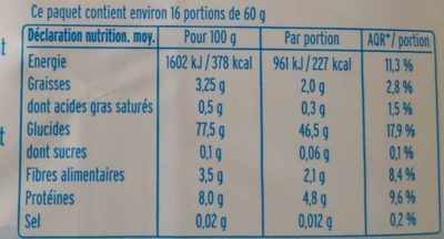 Riz rond complet - Informations nutritionnelles