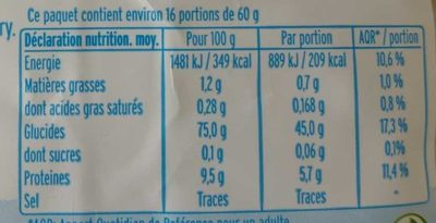Riz basmati blanc - Informations nutritionnelles - fr