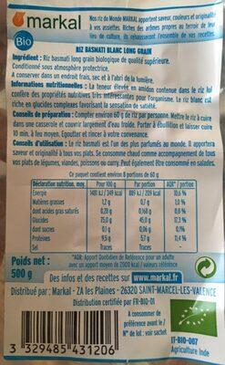 Riz Basmati Blanc - Nutrition facts - fr