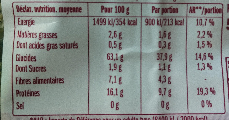 Trio gourmet - Voedingswaarden - fr