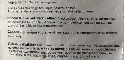 Farine de sarrasin intégrale - Ingrediënten - fr