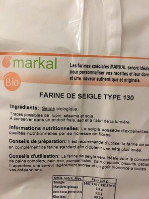 Farine de seigle type 130 - Ingrediënten - fr