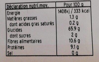 Farine de seigle type 130 - Voedingswaarden - fr