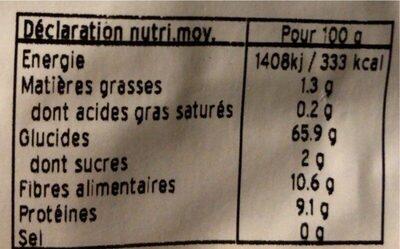 Farine de seigle type 130 - Informations nutritionnelles - fr