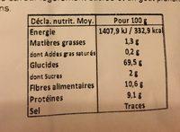 Farine de seigle type 130 - Nutrition facts