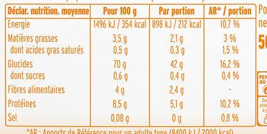 Semoule de maïs fine - Informations nutritionnelles - fr