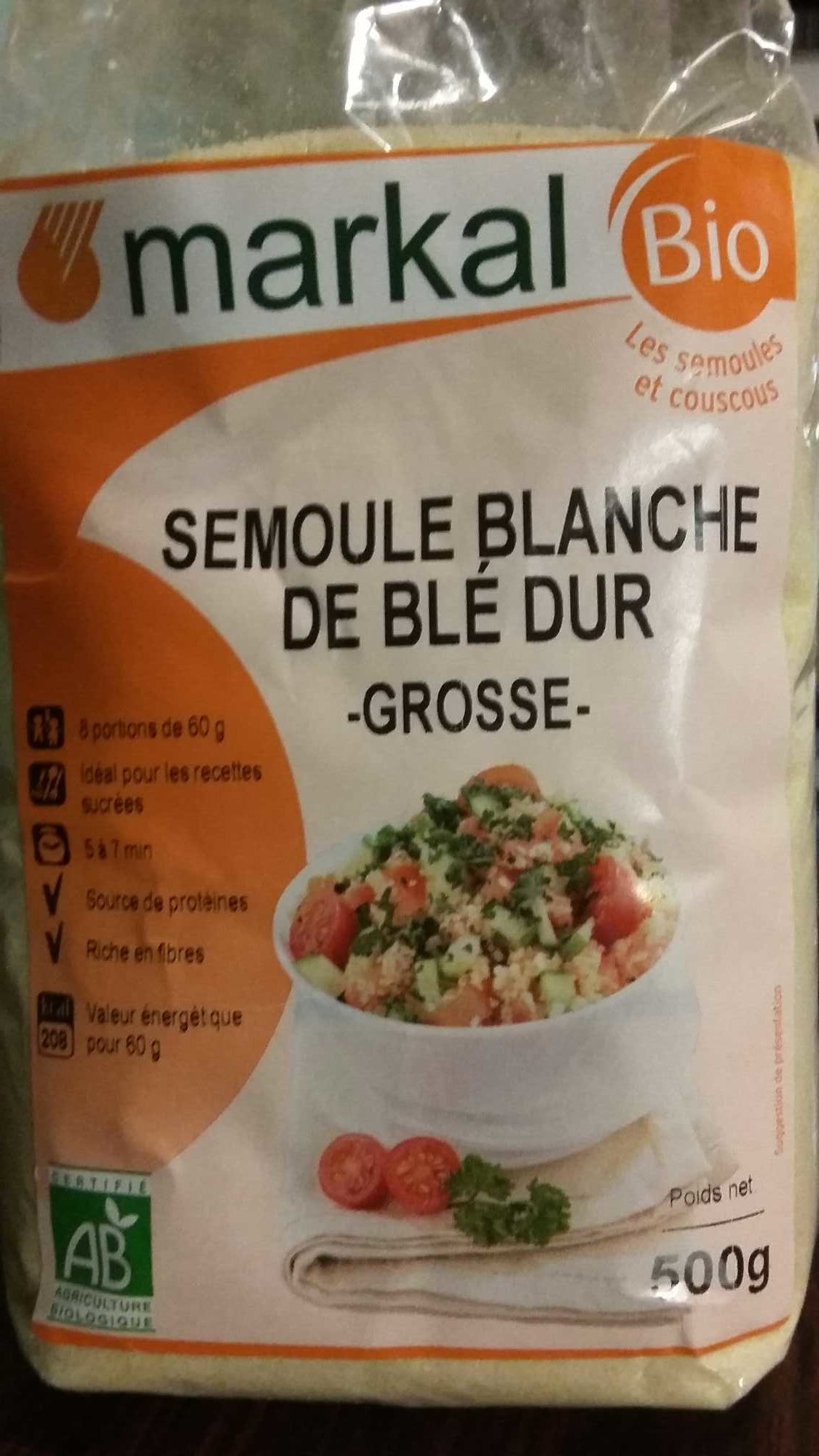 Semoule blanche de blé dur grosse bio - Product