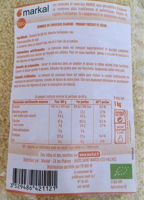 Couscous blanc - Informations nutritionnelles - fr