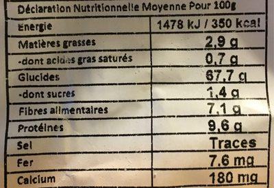 Farine De Teff Blanche - Valori nutrizionali - fr