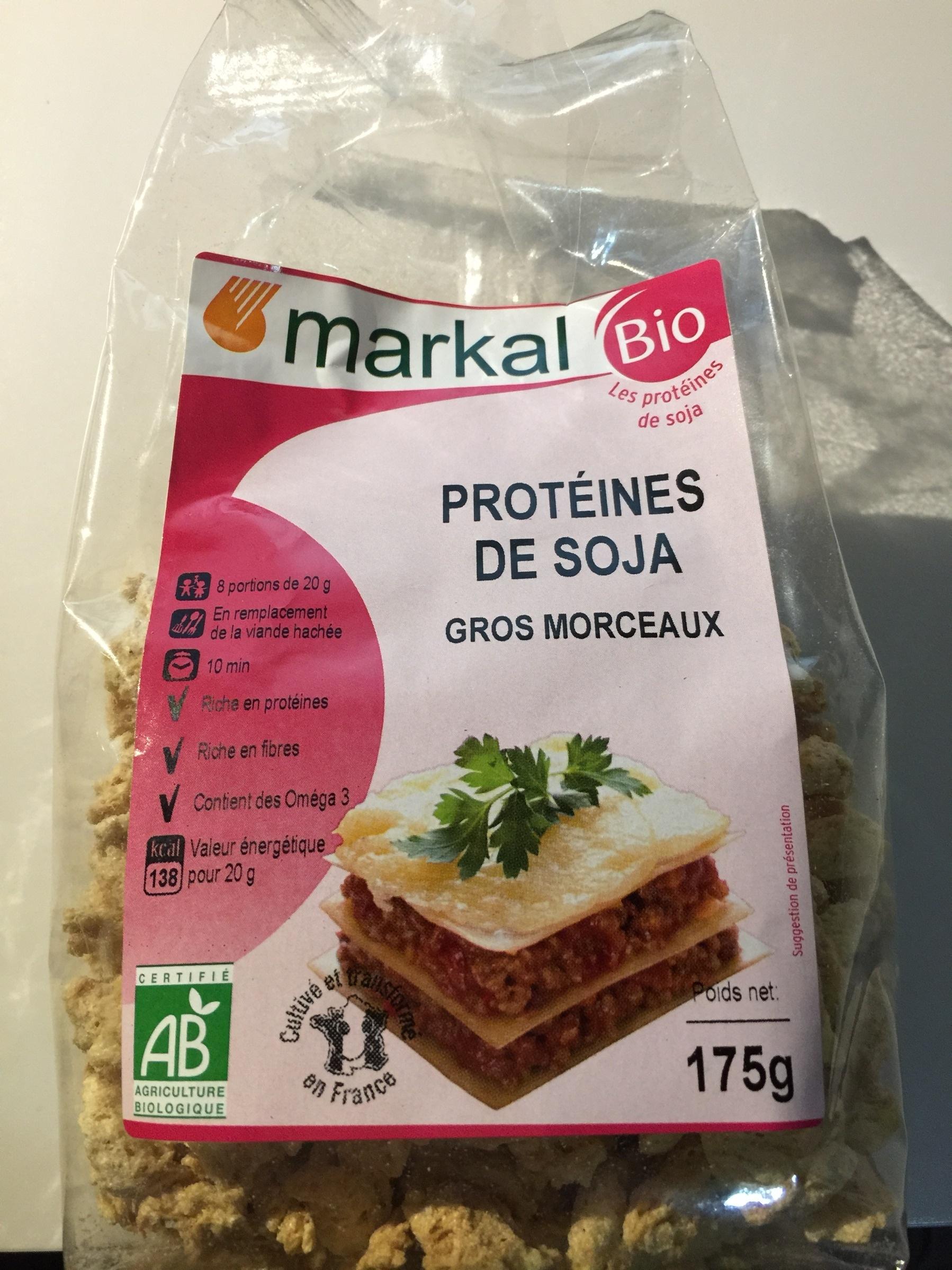 Prot ines de soja gros morceaux markal 175 g for Proteine de soja