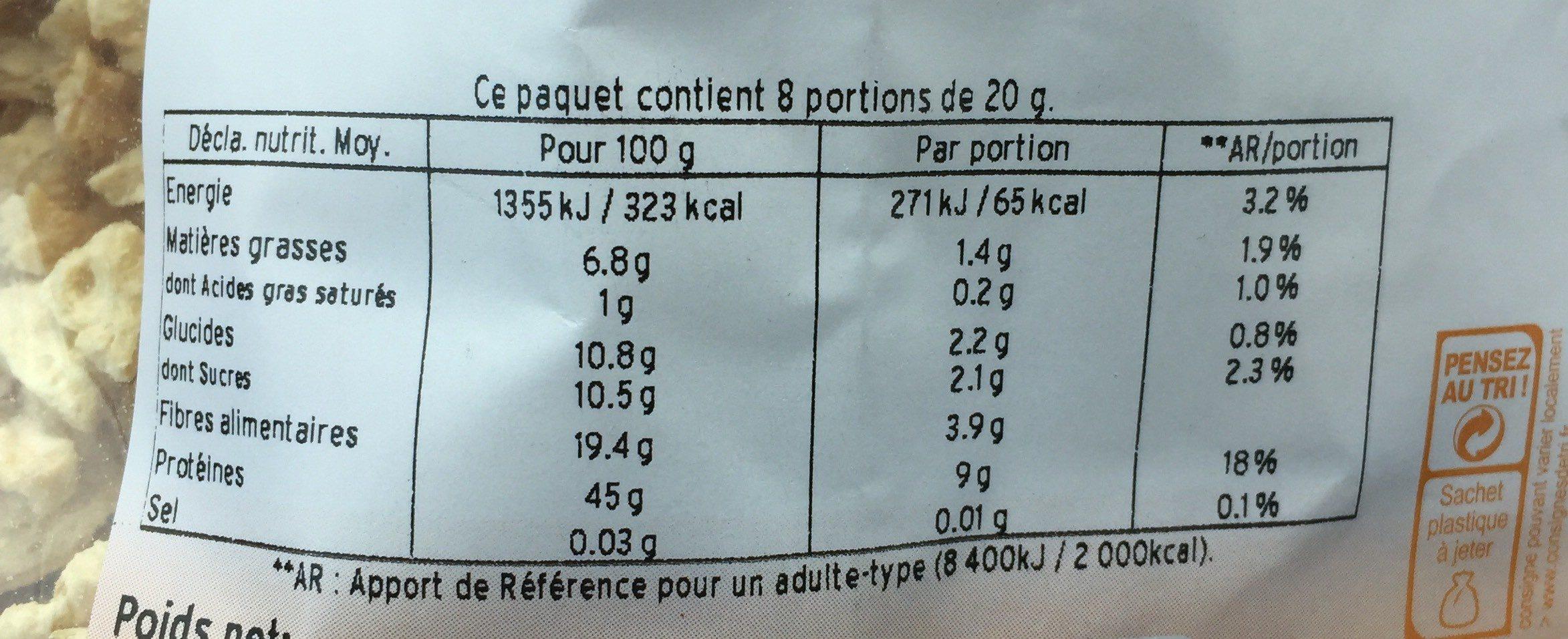 Protéines de soja petits morceaux - Informations nutritionnelles - fr