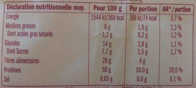 Protéines de soja petits morceaux - Nutrition facts - fr