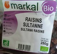 Raisins Sultanines Bio - 250G - Markal - Produit - fr