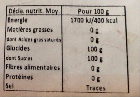 Fructose fin cristalisé - Informations nutritionnelles - fr