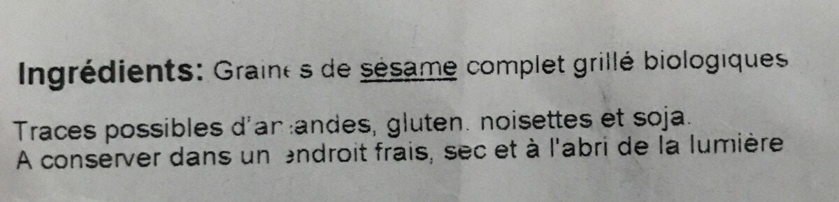 Sésame complet grillé - Ingrediënten