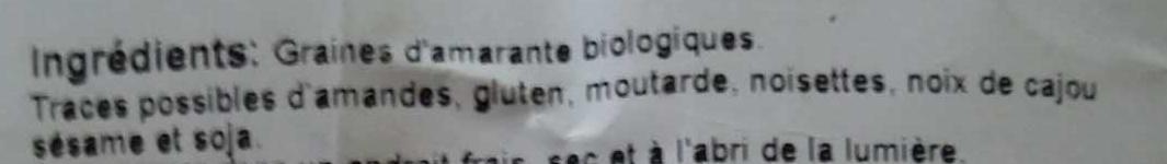 Graines d'amarante - Ingrédients