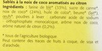 Sablés coco-citron - Ingrédients - fr