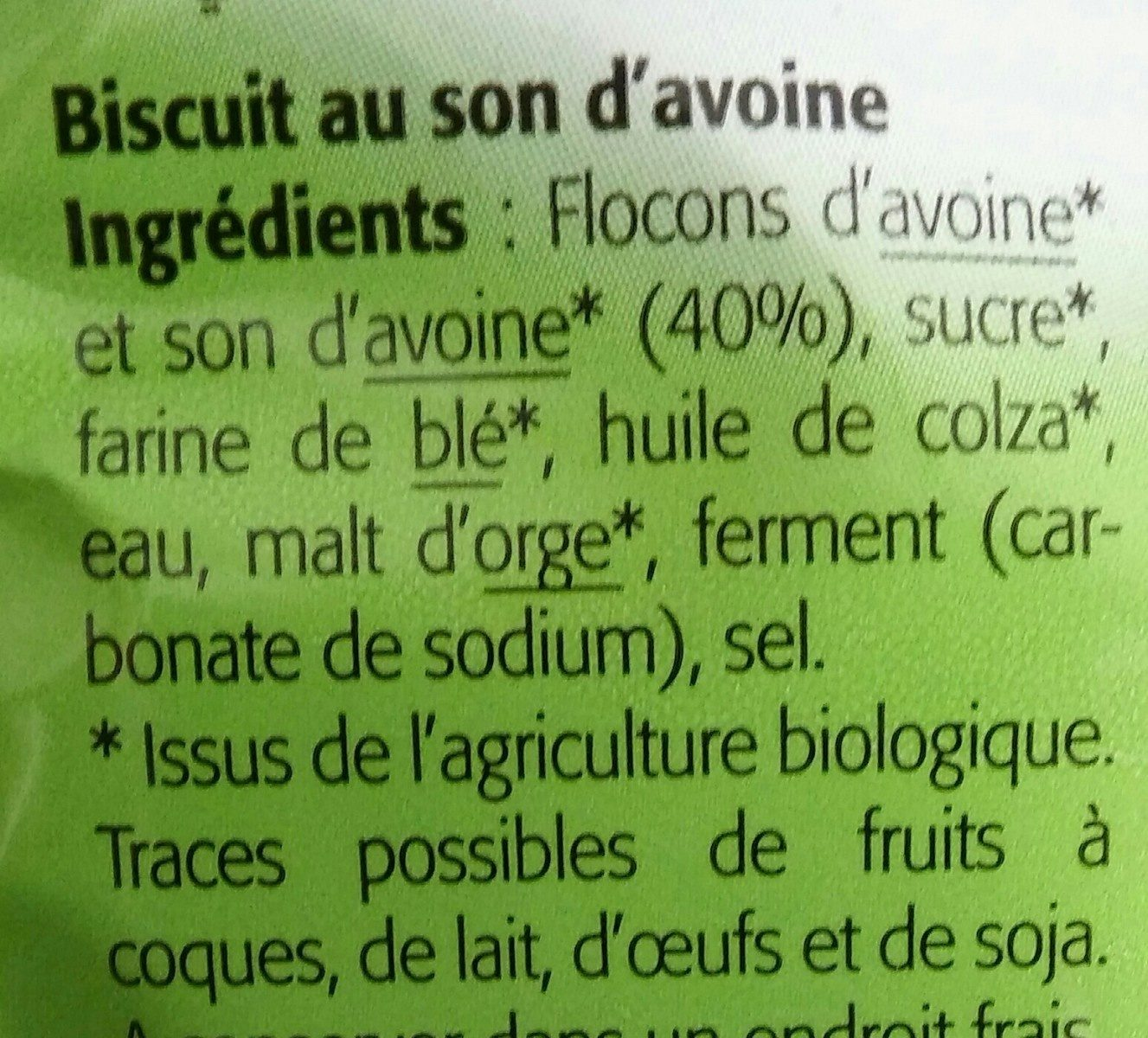 Biscuits Au Son d'avoine - Ingrédients