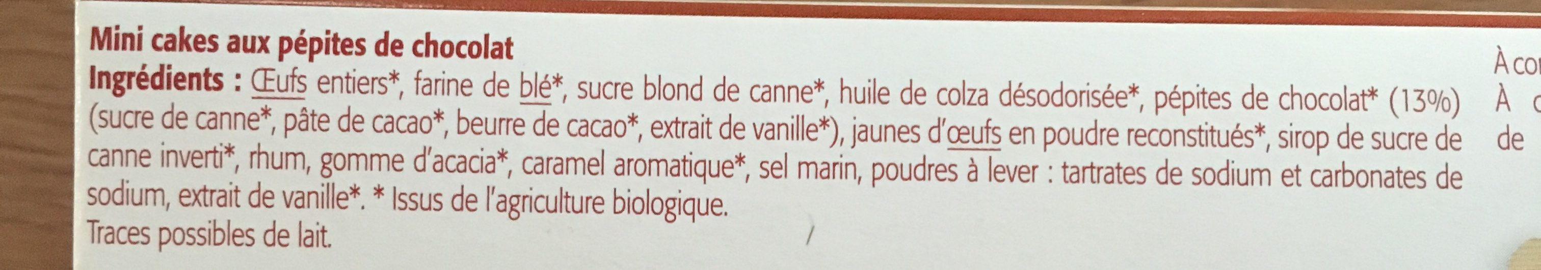 Mini Cakes Aux Pépites De Chocolat Bio - 175G - Bioshok - Ingrédients - fr