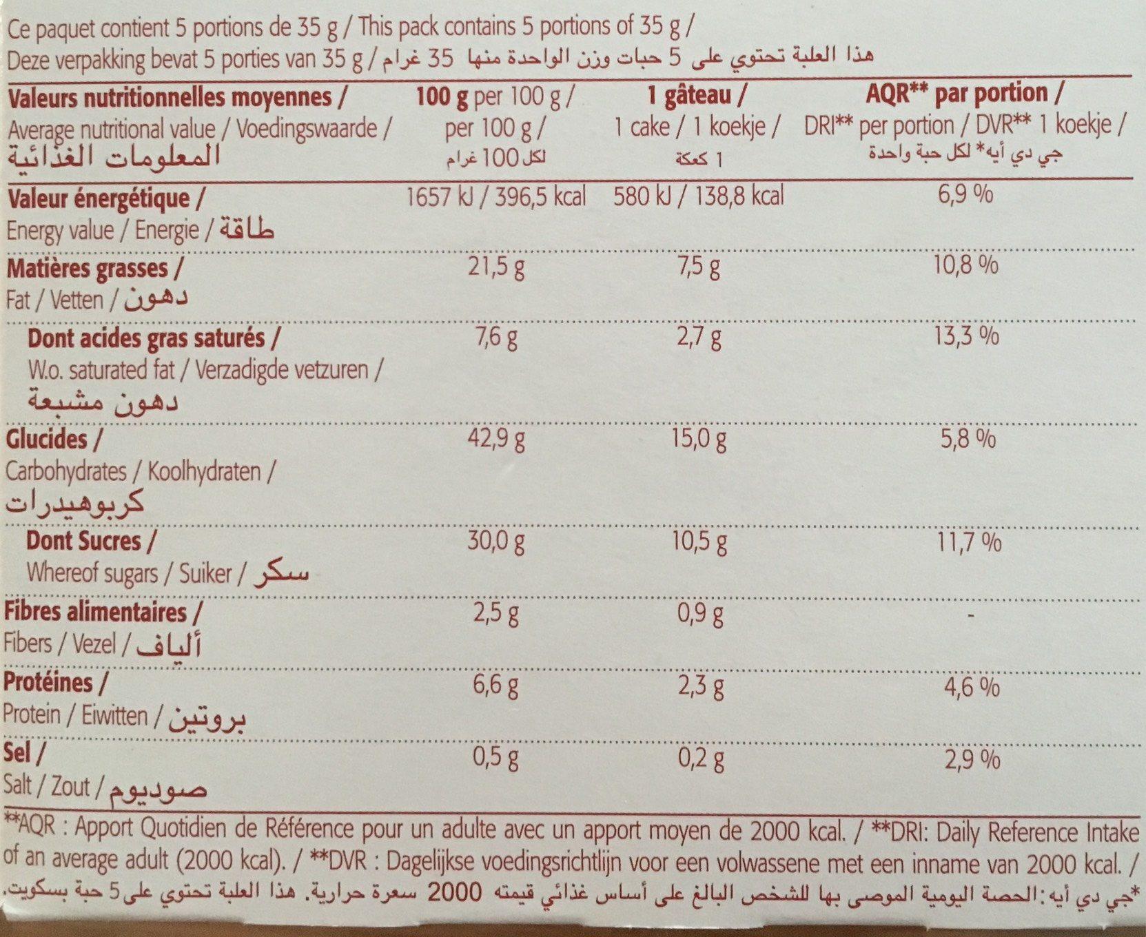 Mini Cakes Aux Pépites De Chocolat Bio - 175G - Bioshok - Informations nutritionnelles - fr