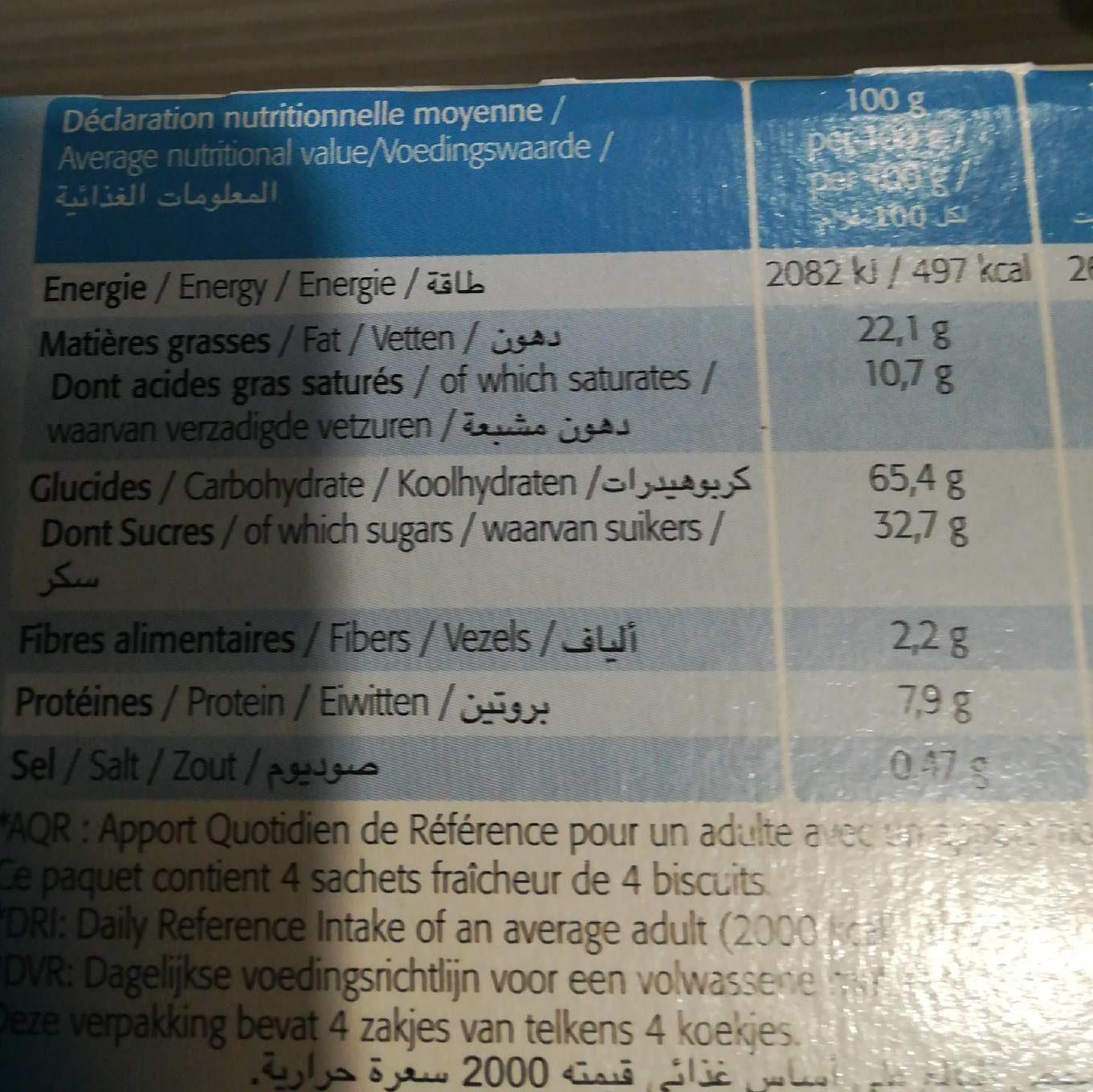 Sablés Nappés de Chocolat au Lait - Informations nutritionnelles - fr