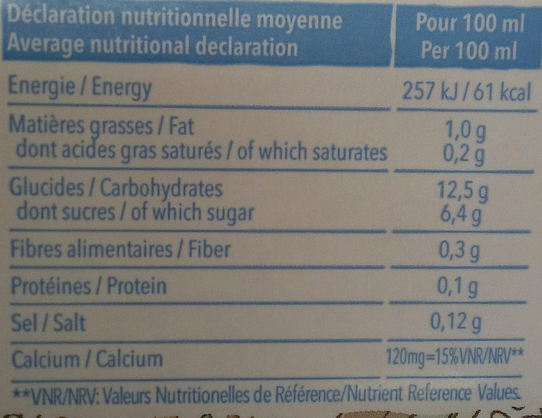 Riz Calcium sans sucres ajoutés - Informations nutritionnelles - fr