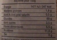 Coquillettes 1/2 complètes - Informations nutritionnelles - fr
