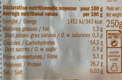 Fusilli lentilles corail sans gluten - Voedingswaarden - fr