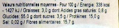 Spirales de Blé - Pâtes alimentaires - Informations nutritionnelles - fr