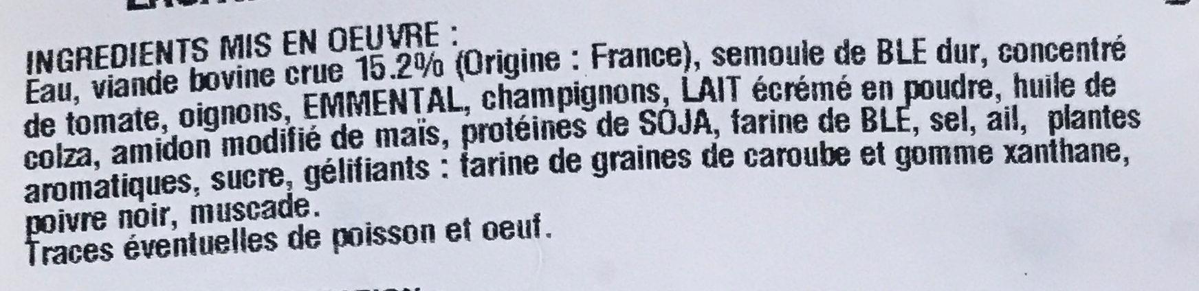 Lasagne à la bolognaise - Ingrédients - fr