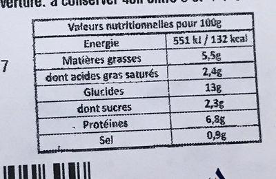 Lasagne à la bolognaise - Informations nutritionnelles - fr
