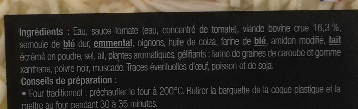 Lasagne bolognaise - Ingredients - fr