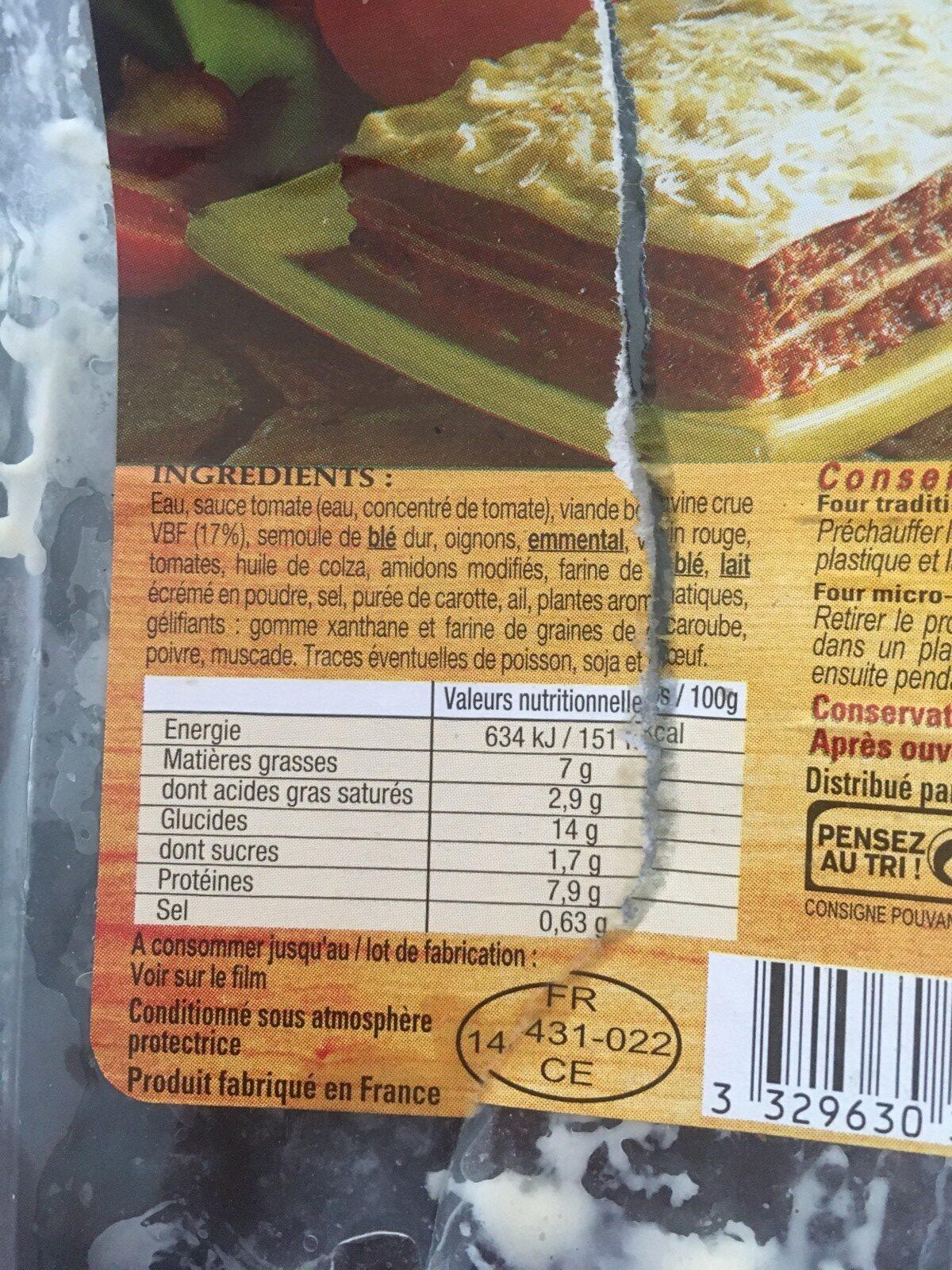 Lasagne Bolognaise - Ingrediënten