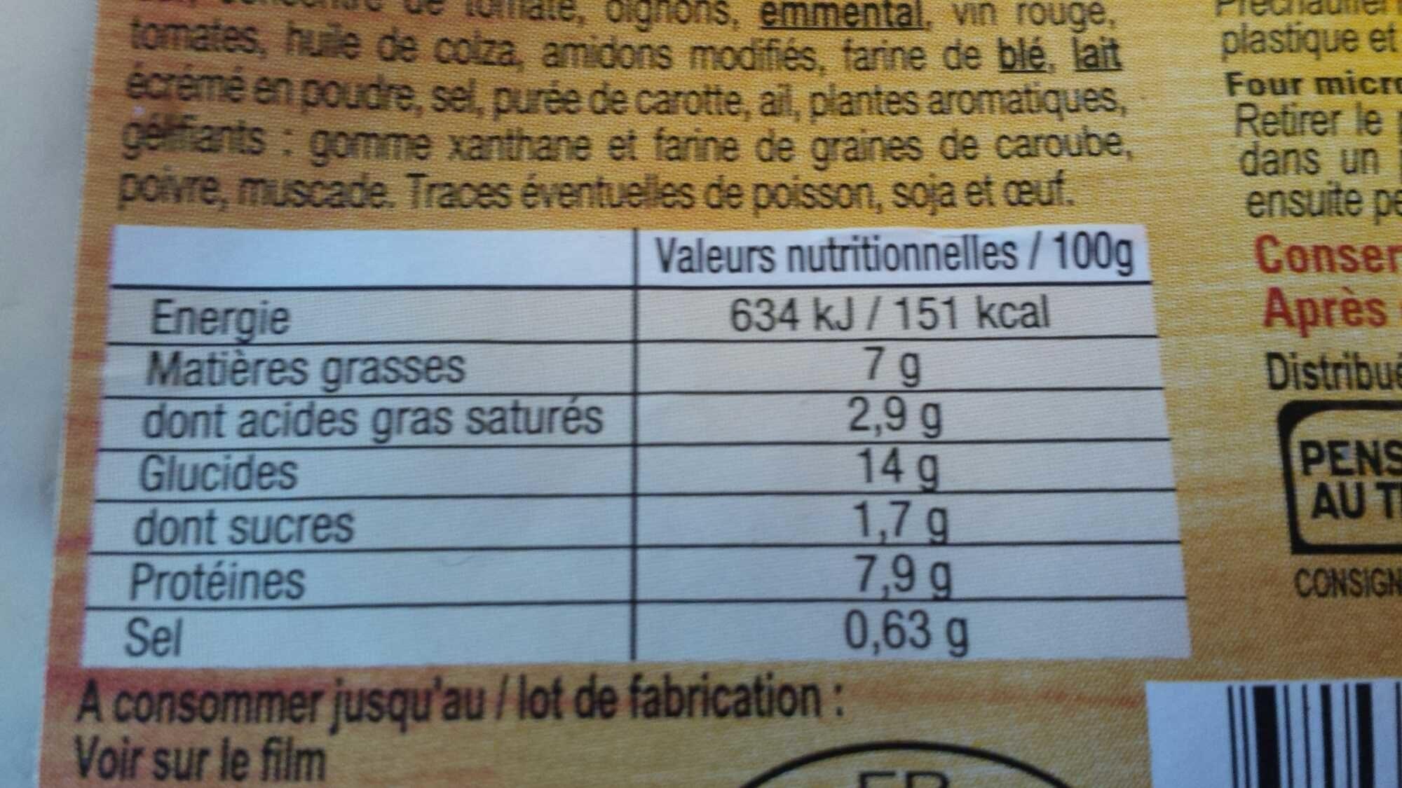 Lasagne Bolognaise - Voedingswaarden