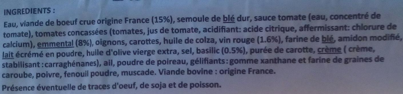 Lasagnes fraîches à la bolognaise - Ingrédients