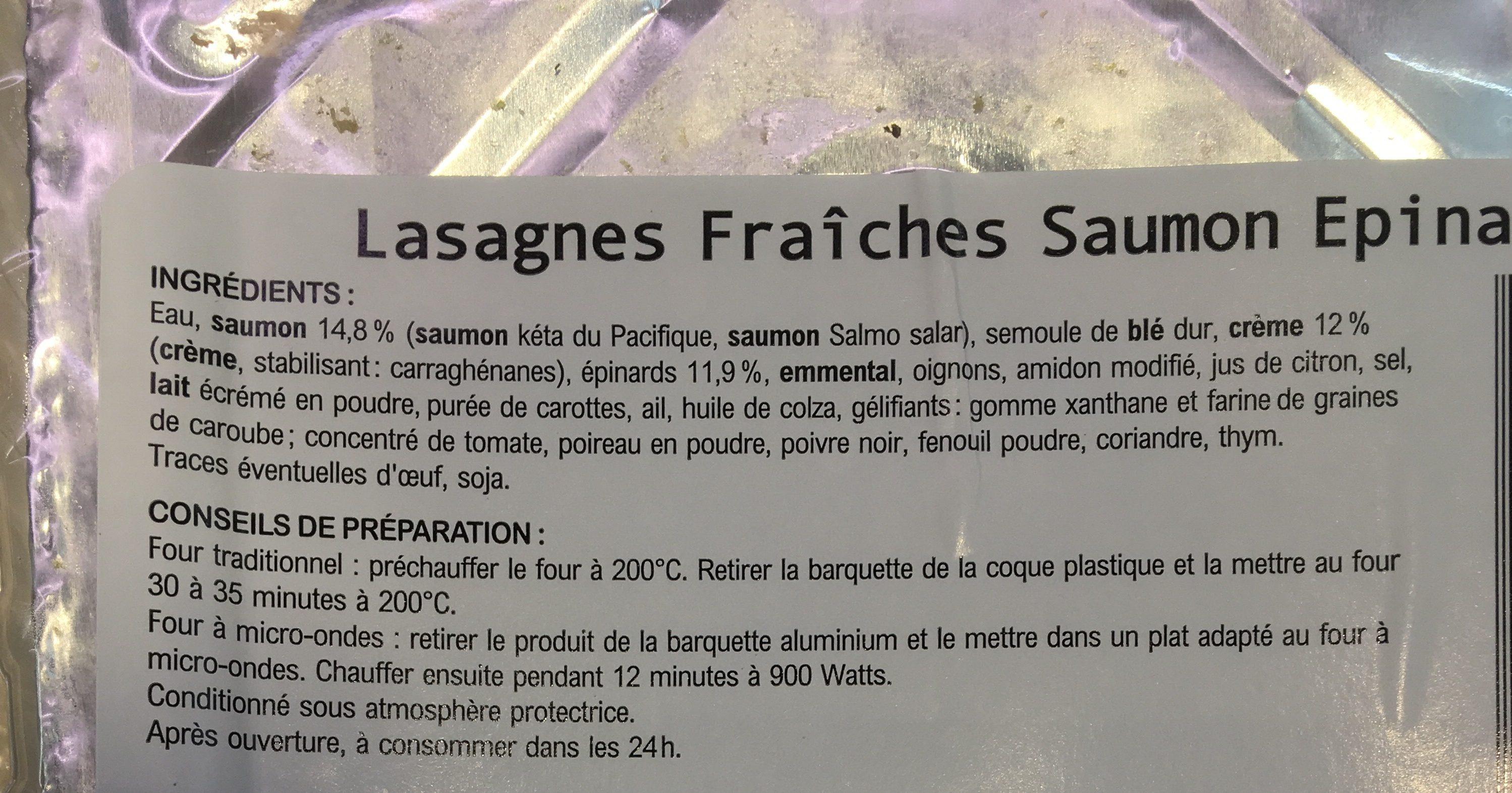 Lasagnes fraîches saumon épinards - Ingredients - fr
