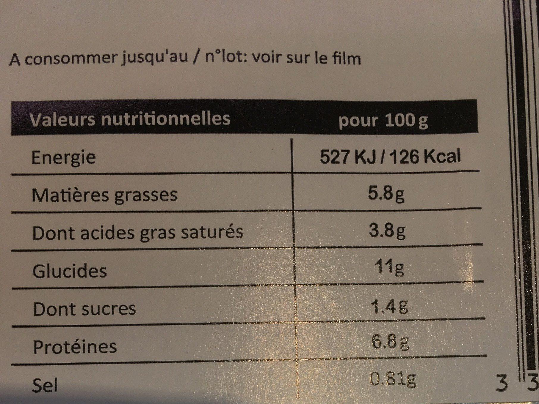Lasagnes fraîches saumon épinards - Nutrition facts - fr