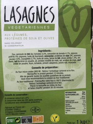 Lasagnes vegetariennes - Ingrédients - fr