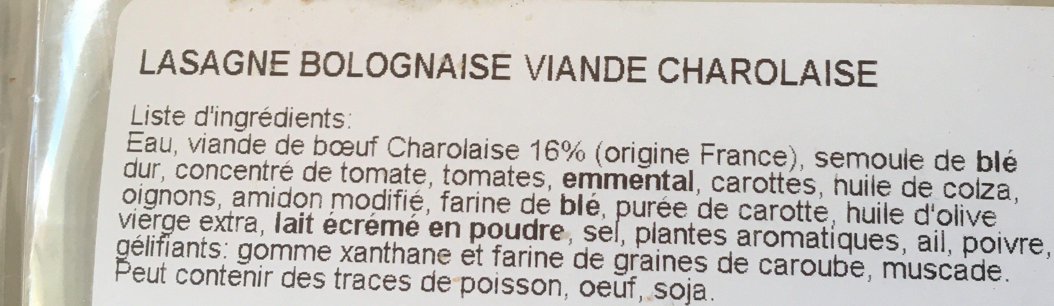 Lasagne Bolognaise au Bœuf - Ingredients - fr